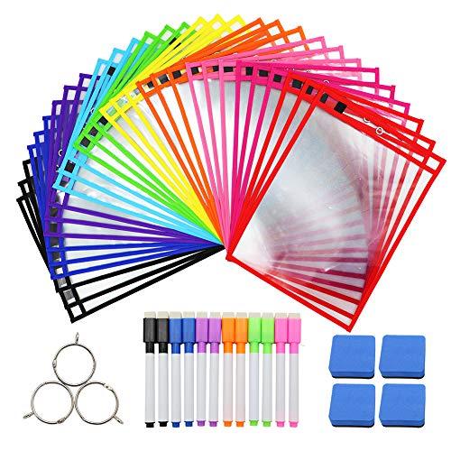 Dry Erase Pockets 30 Pack Dry Erase Sheets Reusable & Oversized 10