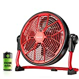 Geek Aire 19200mAh Rechargeable Battery Operated Floor Fan, Powered Fast Air Circulating Fan, Up to 30 Hours, Portable Metal Fan for Outdoor Camper Golf Car, Travel Hurricane or Indoor, 12-Inch…