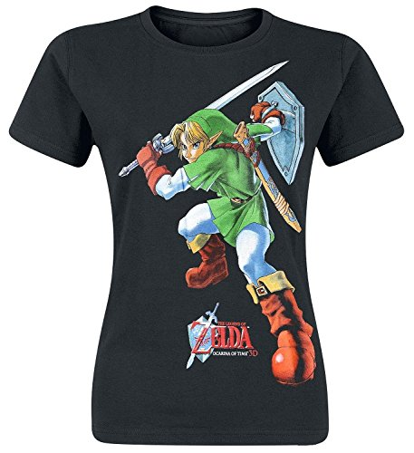Legend of Zelda Nintendo Women's Link Ocarina of Time Print T-Shirt, Nero, Small Donna