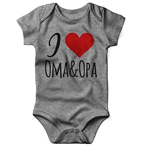 Mikalino Babybody mit Spruch für Jungen Mädchen Unisex Kurzarm I Love Oma & Opa | handbedruckt in Deutschland | Handmade with Love, Farbe:Heather, Grösse:68