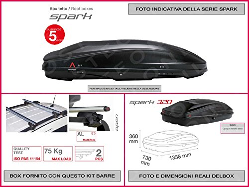 Proposteonline portabagagli Box Tetto Auto 133 x 73 x 36 cm per Mini Countryman 2016  con Barre Portapacchi portatutto no11qk