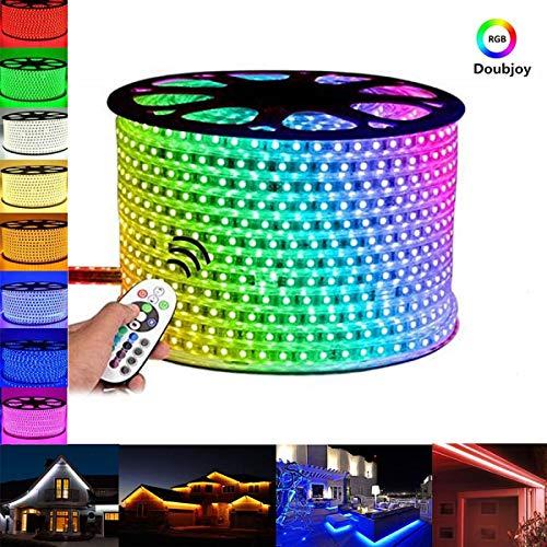 CAKLR1: LED Strip Licht RGB Farbiger Lichtstreifen Streifen 15m Band Leiste mit 900 LEDs (5050 IP65 LED/60 LEDs/Meter) inkl. Netzteil & Fernbedienung