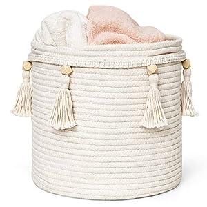 Mkono Macrame Decorative Cotton Rope Basket Boho Cute Woven Tassel Closet Storage Bins Organizer for Nursery,Baby Toys,Magazines, Potted Plants Cover,Living Room,Bedroom,Bohemian Home Decor,11″ x 11″