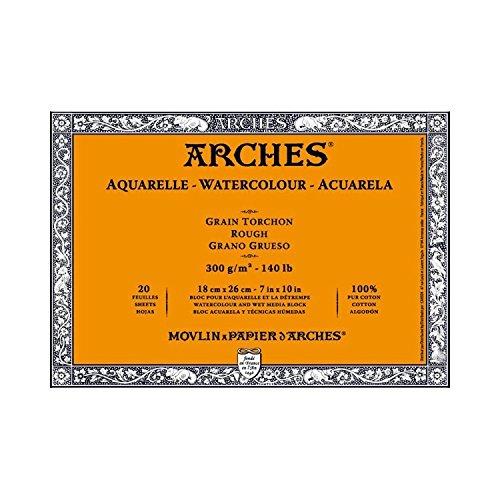 ARCHES - Aquarellpapier - Raue Koernung - 18 cm x 25,5 cm - 300 g/m4