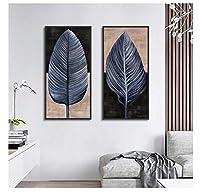 Chenjiaxu 抽象的な灰色の羽ヴィンテージアートポスター大画像プリントキャンバス絵画家の寝室の壁アート落書きの装飾カスタム-40X80Cmx2フレームなし