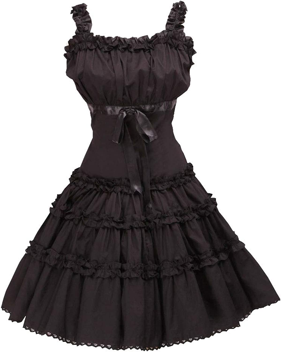 Antaina Black Cotton Ruffle Lace Halter Sweet Sexy Gothic Lolita Cosplay Dress