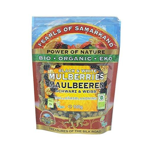 Pearls of Samarkand - Organic Black & White Mulberries - 100g (Case of 7)