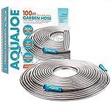 Aqua Joe AJSGH100 1/2' Heavy-Duty Spiral Constructed Stainless Steel Garden Hose, 100 Foot, Silver