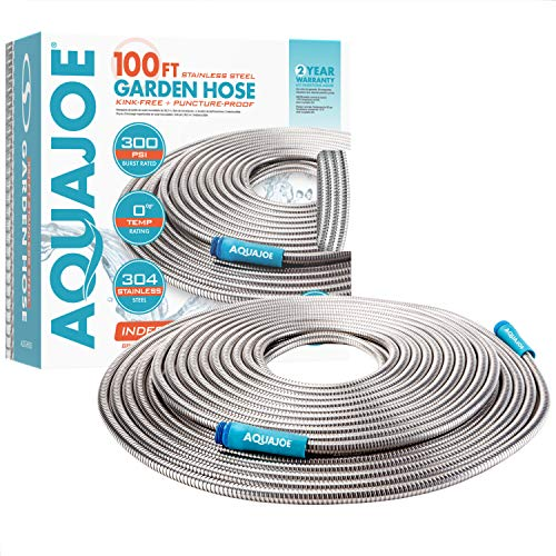 Aqua Joe AJSGH100 1/2-Inch Heavy-Duty, Puncture Proof Kink-Free, Spiral Constructed 304-Stainless Steel Metal, Garden Hose, 100-Foot, 100 Foot, Silver