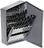 Chicago Latrobe 150 Series High-Speed Steel Jobber Length Drill Bit Set with Metal Case, Black Oxide Finish, 118 Degree Conventional Point, Inch, 29-piece, 1/16' - 1/2' in 1/64' increments