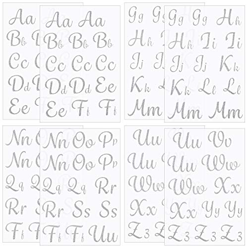 220 Pieces Iron-on Letters 1.5 Inch Tall PU Vinyl Iron on Letters Glitter Heat Transfer Alphabet Applique for T-Shirt Clothes Bags DIY Craft Decor (Silver)