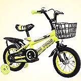 Bicicleta para niños y niñas Freestyle bicicleta 12 14 16 pulgadas con ruedas de entrenamiento, bicicleta infantil (azul, rojo, amarillo) con asiento trasero, amarillo, 14 pulgadas