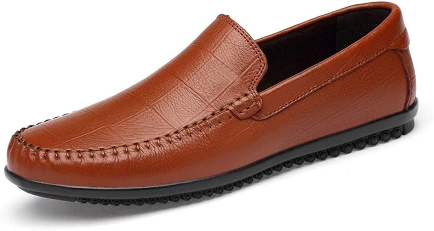 Business Formal Oxfords for Men Penny Loafer Slip on Genuine Leather Antislip Boat shoes (color   Yellow, Size   10 D(M) US)