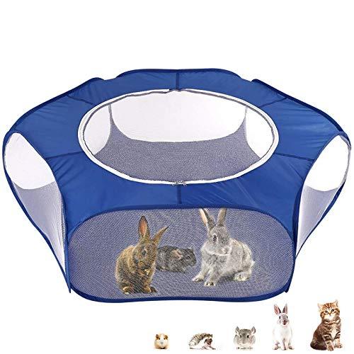 xiaoying Cercado de animais pequenos, barraca de gaiola de pequenos animais com cobertura superior respirável dobrável cercadinho para exercício de porquinho-da-índia, coelhos, hamster, chinchilas, ouriços
