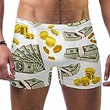 Bennigiry Monedas Dinero Set Pattern Hombre Bañador Tronco Pierna Cuadrada Ropa Interior Corto Traje De Baño Jammer Brief, S