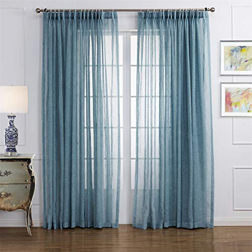 """LoyoLady Lake Blue Sheer Linen Curtains 84 Inch Length 2 Panels Pinch Pleated Curtains for Bedroom 72"""" W x 84"""" L"""