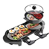 【2 in 1 Function】Indoor Electric Grill suitable for steaks, vegetables, shellfish, pasta, etc; Hotpot with divider can make two taste of hot pot. 【Separately Temperature Control】Hot pot and bbq grill have independent temperature control, 5-speed temp...