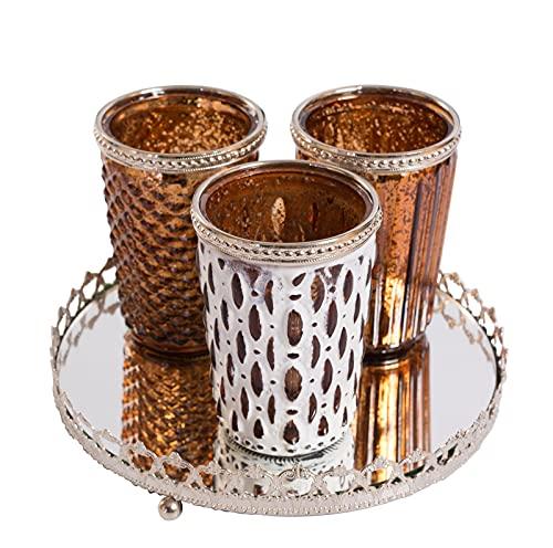 Home&Decorations 3er Windlichtset Teelichtglas mit Spiegelplatte Teelichthalter Kerzenglas Windlicht Glas Kerzentablett (Braun) Antik