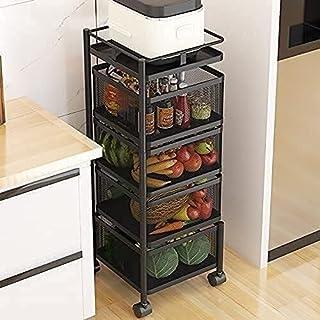 Racque de rangement Cuisine Cuisine Panier de fruits à roulettes avec roues Cuisine de stockage à étagère ronde Cuisine Ro...