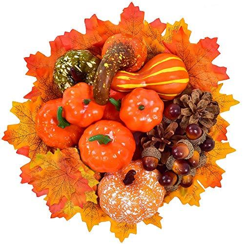 SUNSK Halloween Kürbis Deko Thanksgiving Dekoration Set Herbst Mini Kürbis Ahornblätter Eicheln Tannenzapfen für den Herbst Party Home Weihnachten Dekoration 70 Stück
