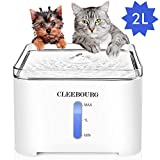 CLEEBOURG Pet Cat Water Fountain, 2L Automatic Dog Water Dispenser Electric Water Drinking Fountain with 3 Flow Settings & 2 Replacement Filters & 1 Silicone Mat for Cats Dogs Multiple Pets