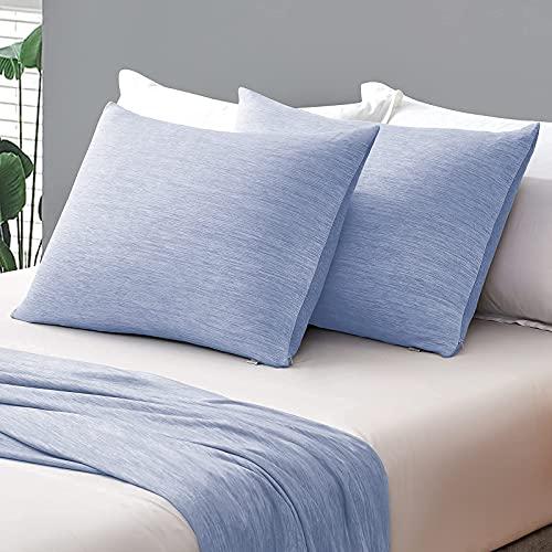 Funda de Almohada de Enfriamiento ARC-Chill, Marchpower 2 Pack 50x76cm con Fibra de Enfriamiento Japonesa Q-MAX>0.43,Transpirable,Suave,Anti Estático,Cremallera Oculta y 2 Caras,Cuida Cabello-Azul
