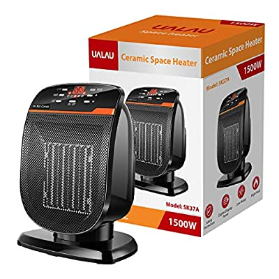 UALAU Ceramic Space Heater?Premium Quality?with High Heating Efficiency & Low Noise, Portable Electric Heater with Intelligent Digital Control Panel for Bedroom Home Office Indoor Use, 900W/1500W