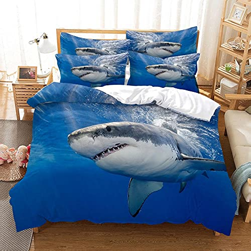 Colchas Cama 135 Tiburón Azul Real Fundas Nordicas Suaves Lujosa Juego de Ropa de Cama Reversible...