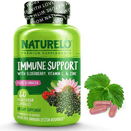 NATURELO Immune Support – Organic Vitamin C, Elderberry, Zinc, Plus Echinacea – Best Natural Immunity Boost w/Antioxidant, Herbal & Mineral Defense - 60 Vegan Capsules