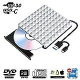 Lecteur CD DVD Externe Type C USB 3.0, Lecteur de CD-ROM Portable Slim RW Row...