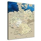 """LanaKK – Deutschlandkarte Leinwandbild mit Korkrückwand zum pinnen der Reiseziele """"Deutschlandkarte Blue Ocean"""" - deutsch - Kunstdruck-Pinnwand Globus in blau, einteilig & fertig gerahmt in 40x60cm"""