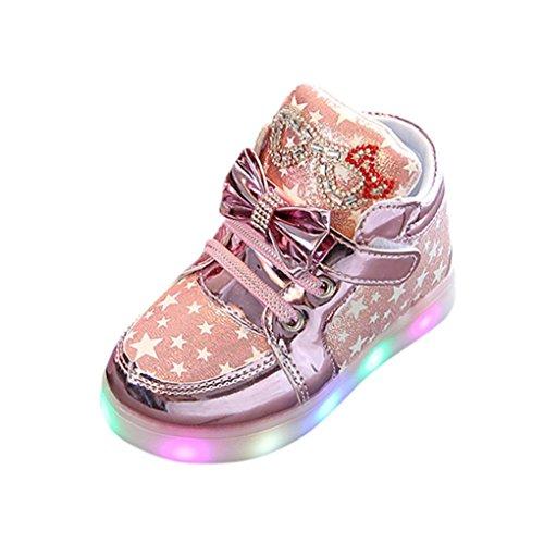 Hirolan Blinkende Kinderschuhe Kleinkind Turnschuhe Star Leuchtend Schuhe Mode Baby Schuhe mit Leuchtsohle Kinder Beiläufig Bunt Lauflernschuhe PU-Leder Mit RGB LED Licht (25, Rosa)