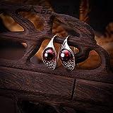 LOt Pendiente en Forma de Gota para Mujer Pendientes de Plata Tailandesa Fina Marcasita Roja Tallada S925 Pendientes de Joyería de Platagranate, Plata 925