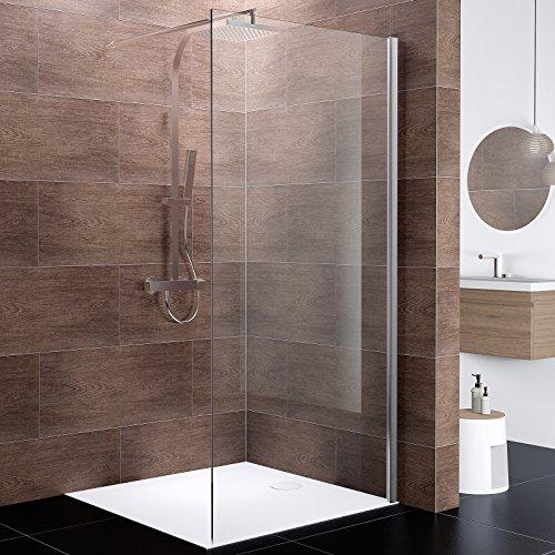 Schulte D5814090 41 50 Paroi de douche fixe à litalienne, Walk In Boston, verre de sécurité anti-calcaire 10 mm, 90 x 200 cm