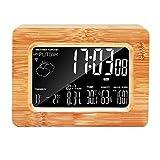 PLEASUR Holz Wecker, Wetterstation Digitaluhr WiFi Temperatur Luftfeuchtigkeit Kreative Einfache Mode 3D Smart Home Dekoration Tischuhr, A