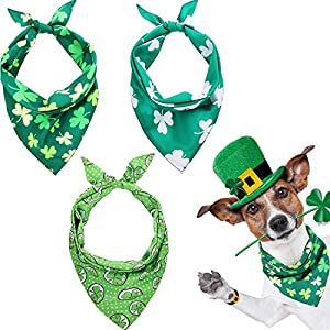 3 Pieces St. Patrick's Day Dog Bandanas, Irish Clover Triangle Scarf Shamrock Reversible Puppy Dog Kerchief, Fashion Accessories for Small Medium Large Size Cat Dog Pets