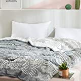 SHSYCER 3 Layer Cozy Lightweight Muslin Cotton Blanket for Bed, Couch & Sofa, Summer Bedding Coverlet Indian Totem Pattern,Darkgrey,F/Q 78''x90''