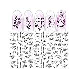 Bunny Nail Art 1 Hoja 3D Etiqueta engomada del clavo Líneas negras Flores Animales Hojas Imagen del corazón Nail Art Decoraciones Control deslizante para manicura de uñas-F640-