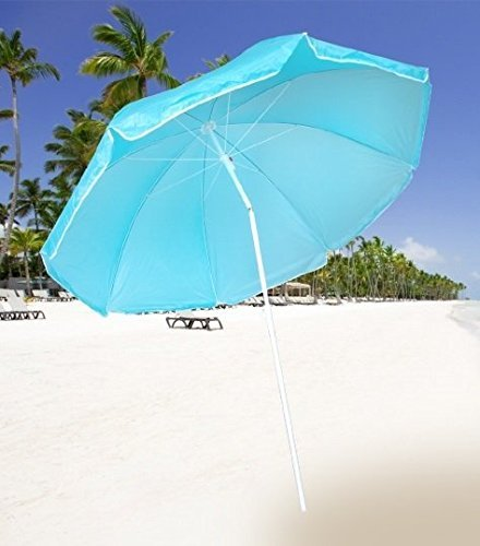 Premium in hoogte verstelbare parasol (ø 160 cm) met knikscharnier - zonnescherm voor balkon en tuin strandscherm balkonscherm zonwering rond gewricht - donkerblauw/blauw