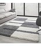 Teppich Hochflor Shaggy Langflor Wohnzimmer Karo Muster Florhöhe 3 cm - Grau-Weiss-Hellgrau, 120x170 cm