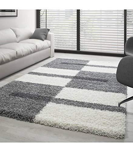 Teppich Hochflor Shaggy Langflor Wohnzimmer Karo Muster Florhöhe 3 cm - Grau-Weiss-Hellgrau, 140x200 cm