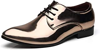 XueQing Pan Fashion Oxfords for Men Dress Shoes Lace up Rubber Sole Patent Leather Solid Color Pointed Toe Low Top Vegan Non-Slip Block Heel (Color : Gold, Size : 8 UK)