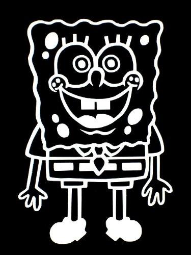 【並行輸入品】カッティングステッカー【スポンジボブ (Mサイズ)】(カラー:ホワイトspongebobのデカール転写ステッカー