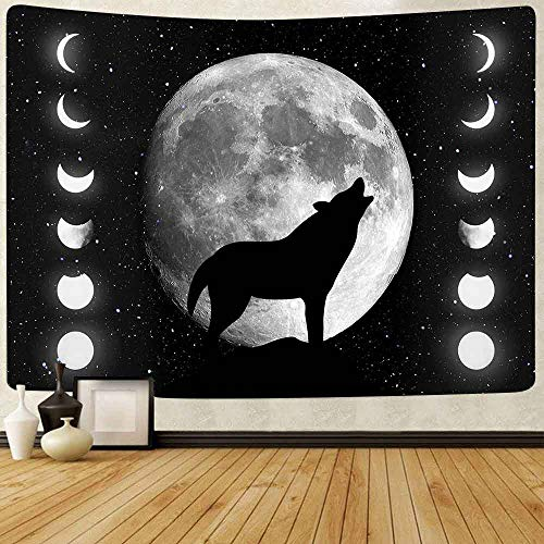 JXWR Tapiz de jardín a la luz de la Luna Fase Lunar Flor Vi