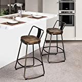Alunaune 26' Swivel Metal Bar Stools Set of 2 with Low Back Counter Height Barstools Kitchen Counter Stool with Wooden Seat (Distressed Bronze)