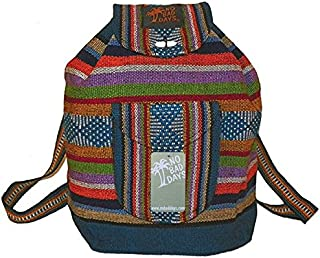 Baja Backpack Ethnic Woven Mexican Bag - MultiColor Turquoise - Medium