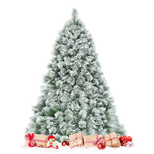 HAPPYGRILL 7FT Christmas Tree Snow Flocked Artificial Christmas Tree with Metal Stand 808 Tips Fluffy Pine Needles Perfect Holiday Decoration