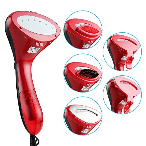 JOLY JOY Clothes Steamer, Handheld Garment Steamer 1500W Portable Fabric Steamer with Ultra-fast Heating Element, Powerful Steamer hand held steamer Travel Steamer (Black/Red)