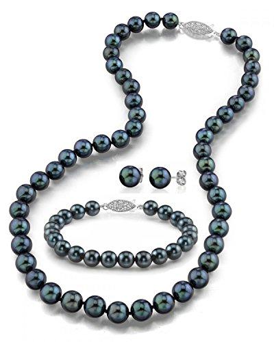 Oro 14K 7.5–8.0mm nero Akoya Pearl collana, braccialetto e orecchini set, 43,2cm–Qualità AAA