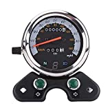 Velocímetro de motocicleta de 95 mm, cuentakilómetros doble velocímetro cuentakilómetros engranaje pantalla digital motocicleta universal